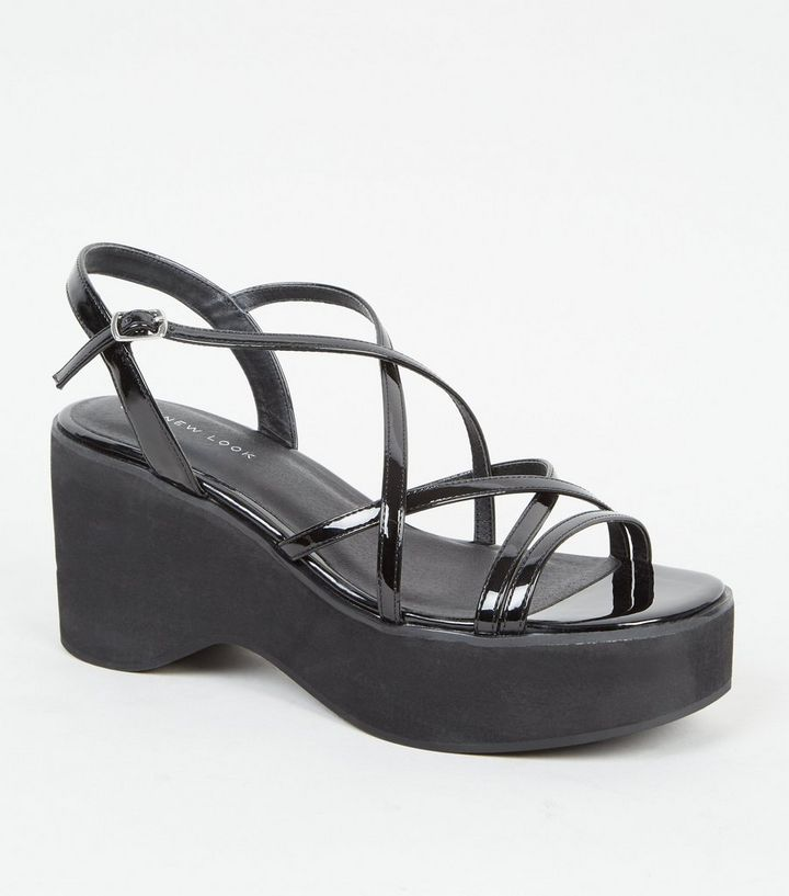 e8dfa98d6bc Black Strappy Platform Sandals Add to Saved Items Remove from Saved Items