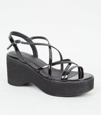 Black Strappy Platform Sandals | New Look