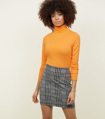 Black Houndstooth Jersey Tube Skirt