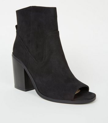 Black Suedette Peep Toe Western Ankle Boots
