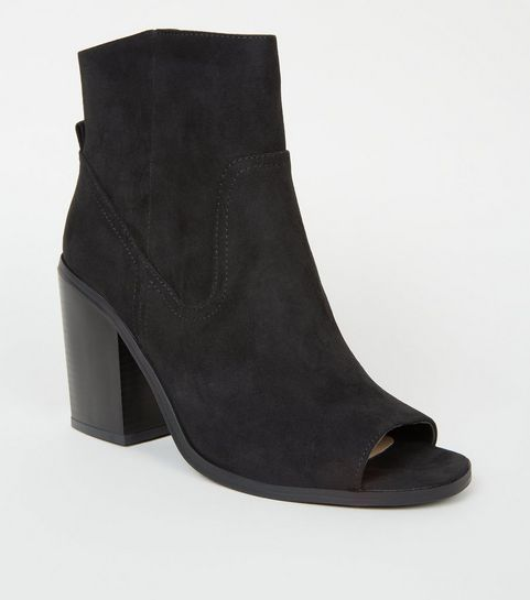 6c2b6558a06b ... Black Suedette Peep Toe Western Ankle Boots ...