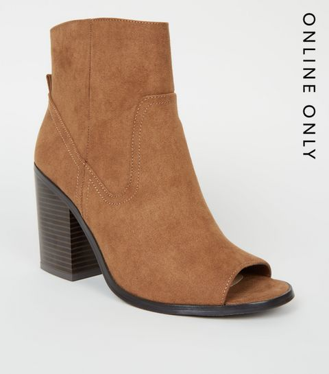 695cafcac4a0 ... Tan Suedette Peep Toe Western Ankle Boots ...