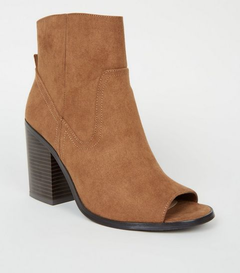 1033e9157cd ... Tan Suedette Peep Toe Western Ankle Boots ...