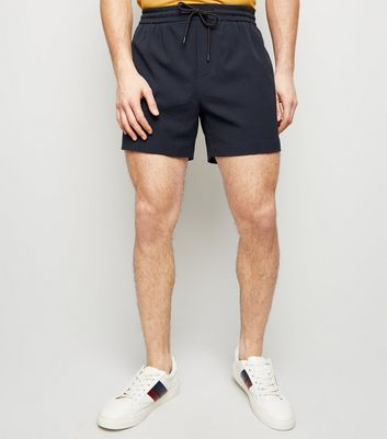 Navy Seersucker Pull-On Shorts
