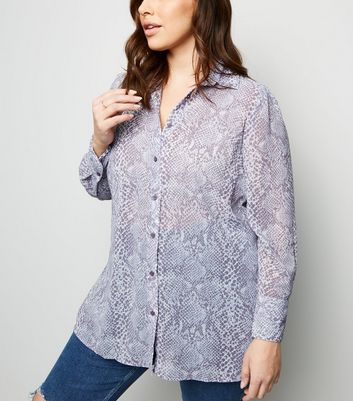 Curves White Snake Print Shirt