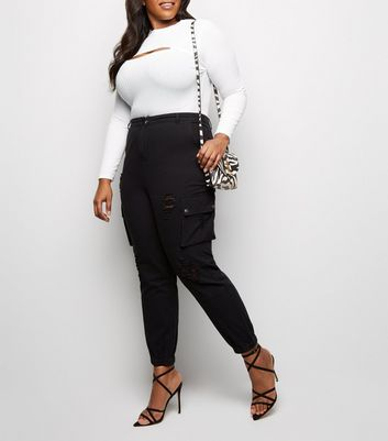 Curves Black Ripped Utility Denim Joggers