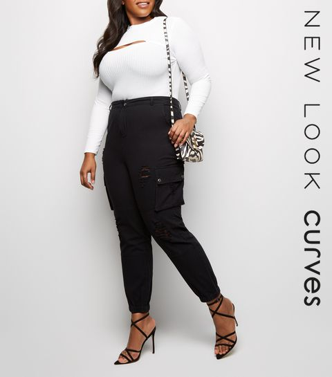 4a6c4224fbe ... Curves Black Ripped Utility Denim Joggers ...