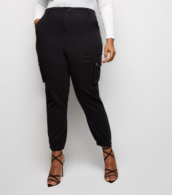 Curves Black Ripped Utility Denim Joggers New Look