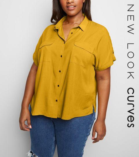 ca30e810a6337 ... Curves Yellow Pocket Front Shirt ...
