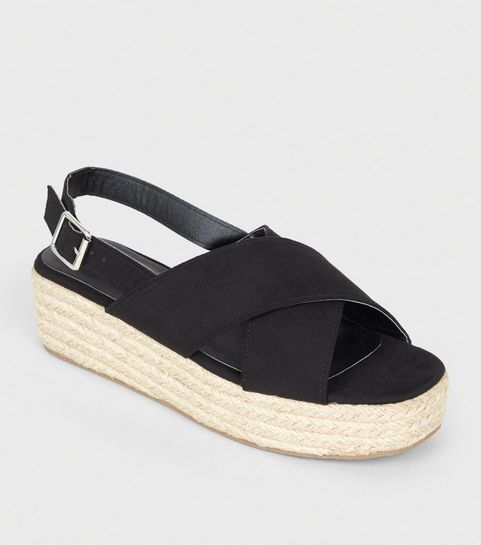 fc93bd9d0 Black Cross Strap Flatform Sandals · Black Cross Strap Flatform Sandals ...