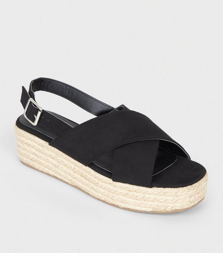 1a717c62423 Black Cross Strap Flatform Sandals