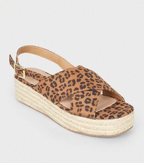 975093cda1e4 ... Stone Leopard Print Cross Strap Flatform Sandals ...