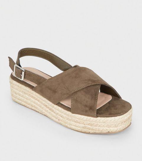 85e3a60dda0c ... Khaki Cross Strap Flatform Sandals ...