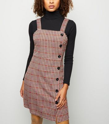 Tall Pink Houndstooth Check Pinafore Dress