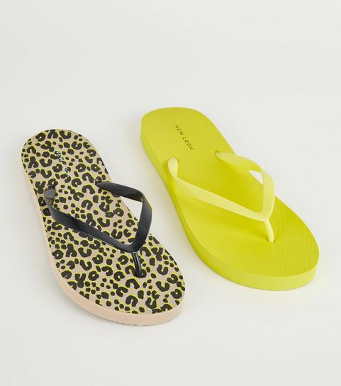 fbad29d710ac9d ... Brown Animal and Neon Yellow Print Flip Flops ...