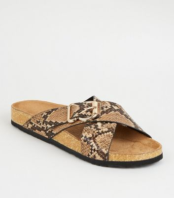 Stone Faux Snake Cross Strap Footbed Sliders