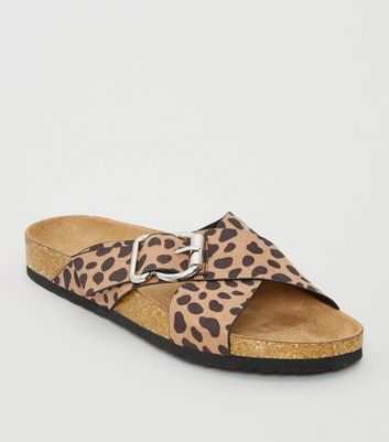 Brown Animal Print Cross Strap Footbed Sliders