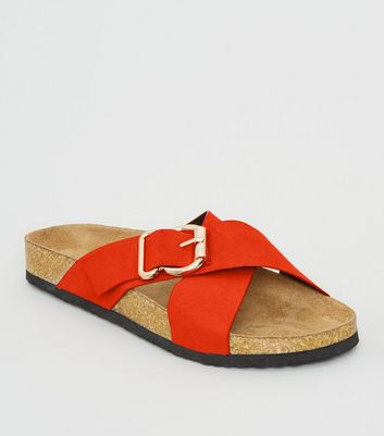 Orange Suedette Cross Strap Footbed Sliders