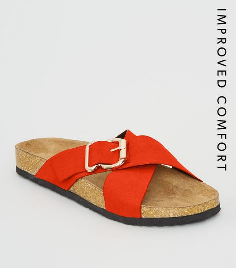 a4f2c74cafd21 ... Orange Suedette Cross Strap Footbed Sliders ...