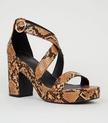 Brown Faux Snake Platform Block Heels by New Look