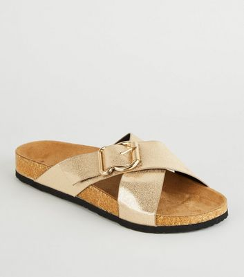 Gold Faux Animal Cross Strap Footbed Sliders