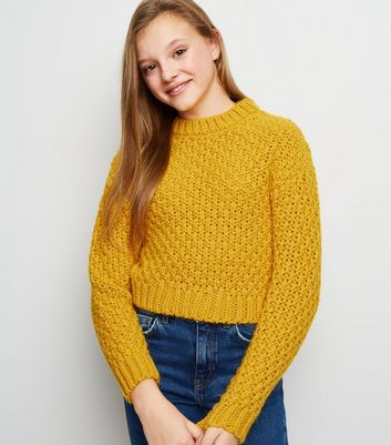 Girls Mustard Tuck Stitch Jumper