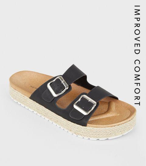 d009eeb3a83449 Black Espadrille Flatform Footbed Sliders · Black Espadrille Flatform  Footbed Sliders ...