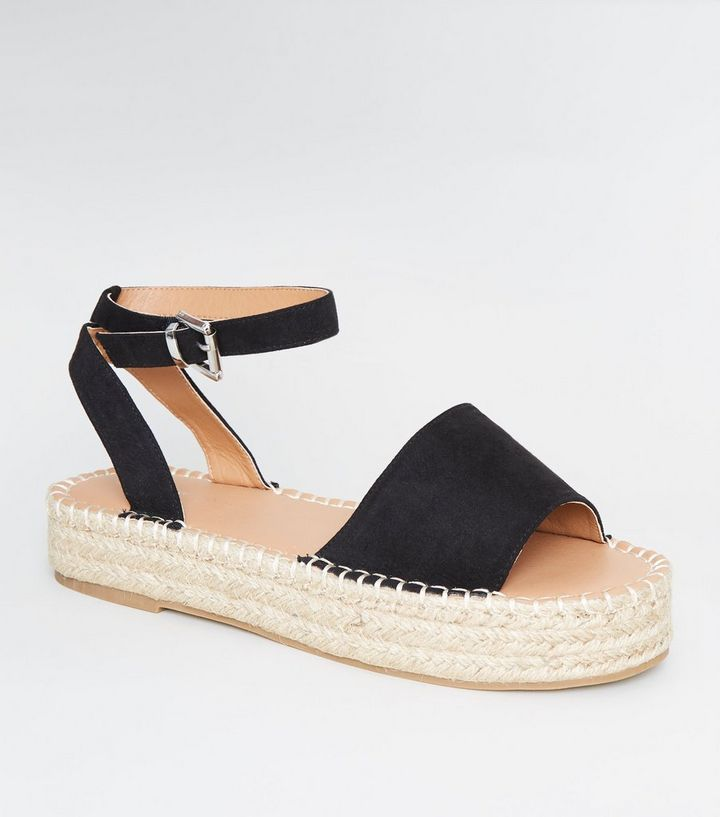 8e4aa2107d9 Black Suedette Espadrille Flatform Sandals Add to Saved Items Remove from  Saved Items