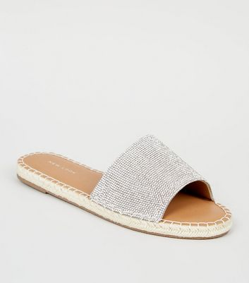 Silver Diamanté Espadrille Sliders