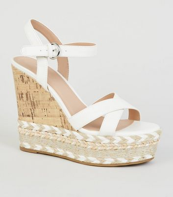 White Chevron Trim Platform Cork Wedges