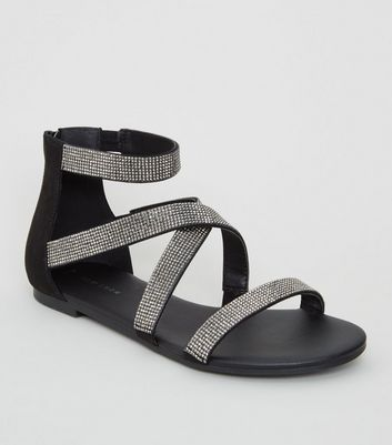 Black Diamanté Cross Strap Flat Sandals