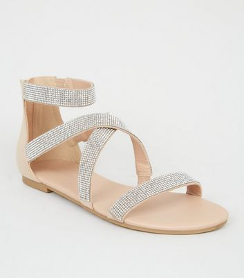 Nude Diamanté Cross Strap Flat Sandals