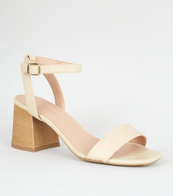 Off White Leather-Look Wood Effect Flare Heels