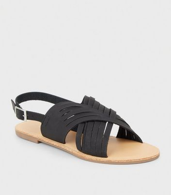 Black Leather-Look Woven Slingback Sandals