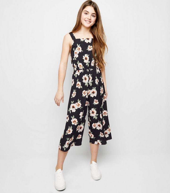 8f1f14538490e Girls Black Floral Square Neck Jumpsuit