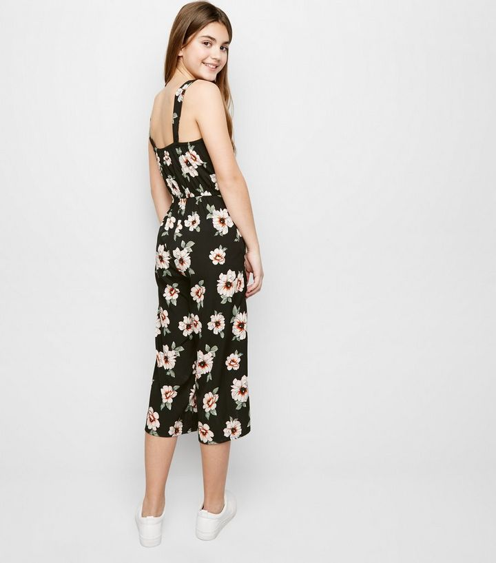 053f6f3dbf0 ... Girls Black Floral Square Neck Jumpsuit. ×. ×. ×. Shop the look