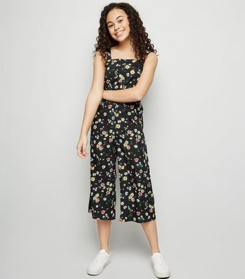 Girls Multicoloured Floral Square Neck Jumpsuit