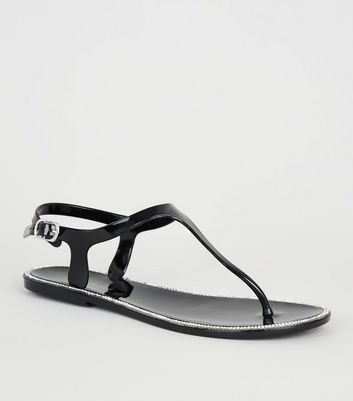 Black Diamanté Sole Trim Jelly Sandals