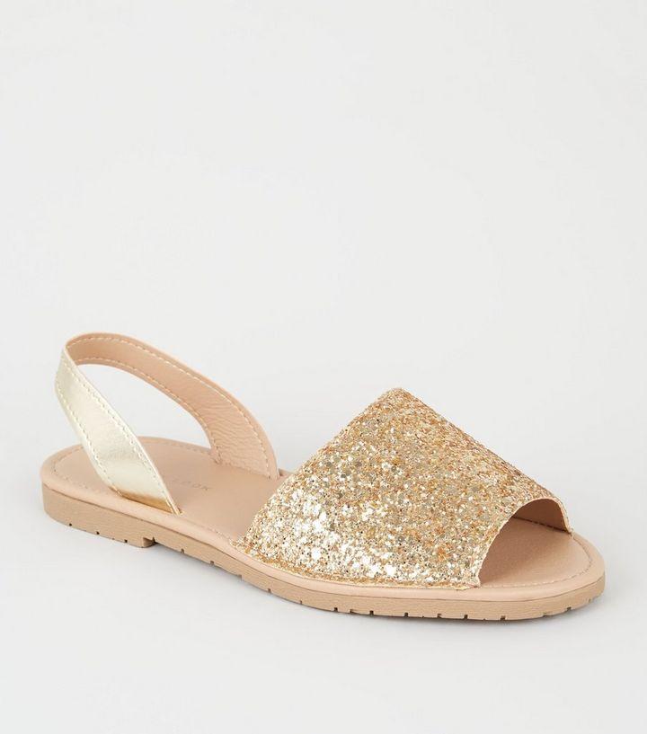 38c459ffce7 Gold Metallic and Glitter Slip On Flat Sandals