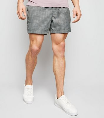 Pale Grey Check Print Pull On Shorts