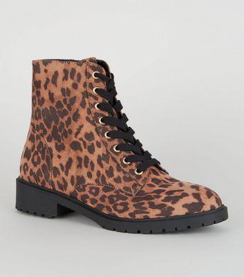 Stone Leopard Print Suedette Hiker