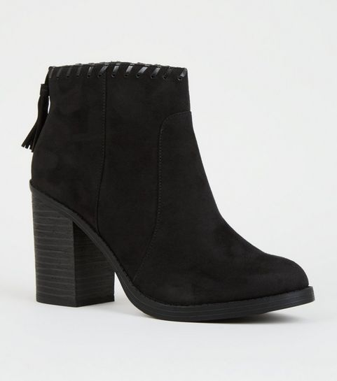 9e09c003b97f ... Black Comfort Whipstitch Tassel Trim Western Boots ...