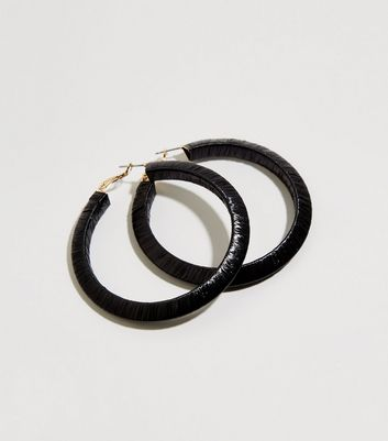 Black Slinky Wrapped Hoop Earrings