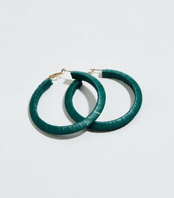 Green Slinky Wrapped Hoop Earrings