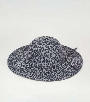 Light Grey Leopard Print Fedora Hat