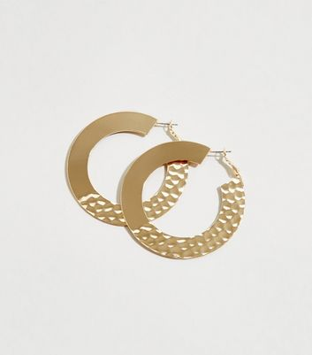 Gold Half Beaten Hoop Earrings