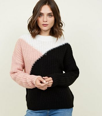 Black Intarsia Colour Block Jumper