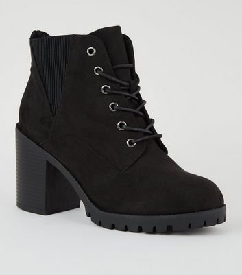 Wide Fit Black Suedette Lace Up Boots