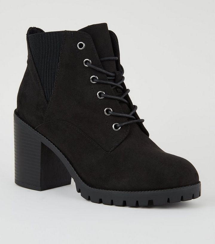 b1d8005f65 Wide Fit Black Suedette Lace Up Boots | New Look