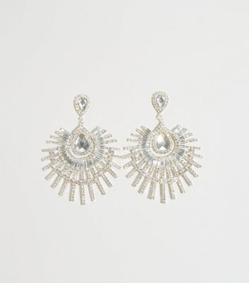 Silver Diamanté Spike Chandelier Earrings